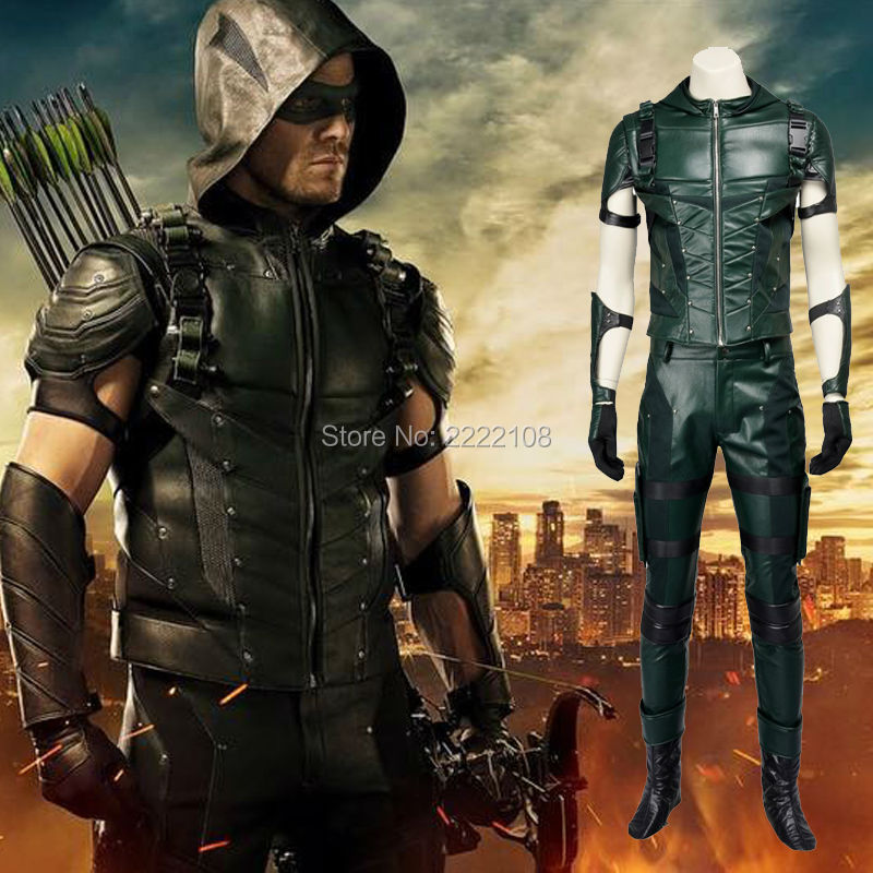 2018 Updated Version Green Arrow season 4 Cosplay Costume Superhero Oliver Queen green arrow leather costume Halloween costumes