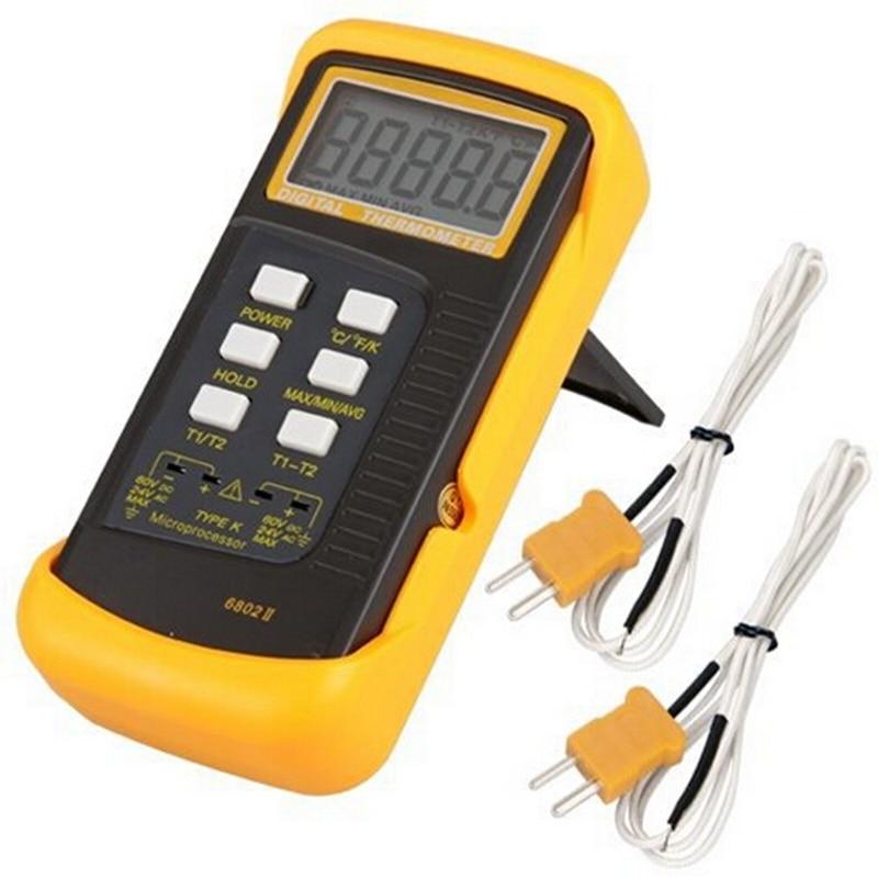 K-Type Numérique Thermocouple Thermomètre 1300C Professionnel Dual Channel Sonde de Température Industrielle Compteur C/F/K Swift Maintien des données