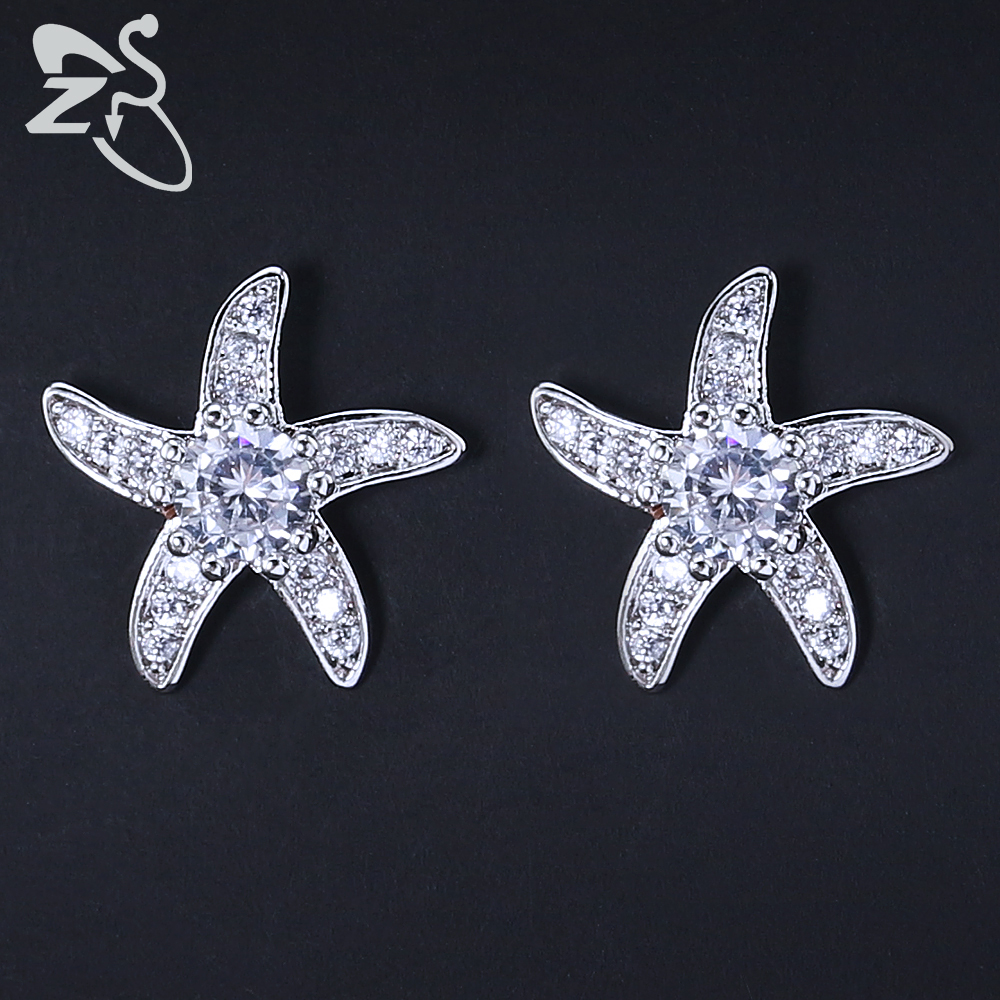 9 Colors Choice Brilliant Starfish Stud Earrings for Women Girls Austria Crystal Earrings Rose Gold Silver Colors Ear Studs Gift