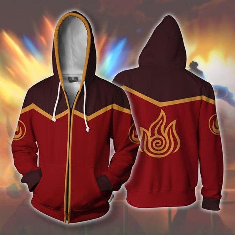 Avatar: Last Airbender Costumes Flame Cosplay 3D Hoodies Men Women Streetwear Sweatshirts Zipper Hooded Jacket Clothing