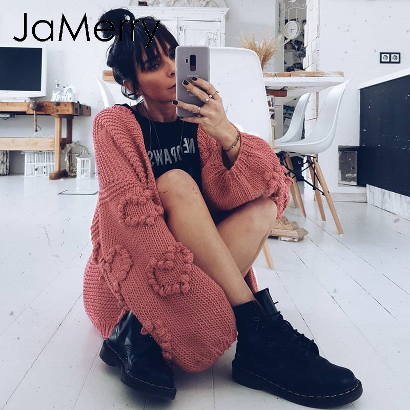 JaMerry Vintage Loose Women Knitted Cardigans Oversized Lantern Sleeve Heart Crochet Jumper Autumn Winter Knitting Cardigan Coat