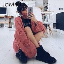 JaMerry Vintage lose frauen gestrickte strickjacken Übergroßen laterne hülse herz crochet jumper Herbst winter stricken strickjacke mantel