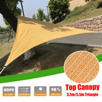 3.5m HDPE Outdoor Sun Shade Sail Triangles Anti UV Shading Mesh for Camping Courtyard Balcony Awning Garden Beach Top Canopy