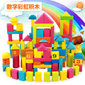 2016 Child early learning toy 100 Large wooden building blocks baby 1 2 3 - - - 6 male girl