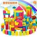 2016 Criança aprendizagem precoce brinquedo 100 Grandes blocos de madeira do bebê 1 2 3---6 macho menina