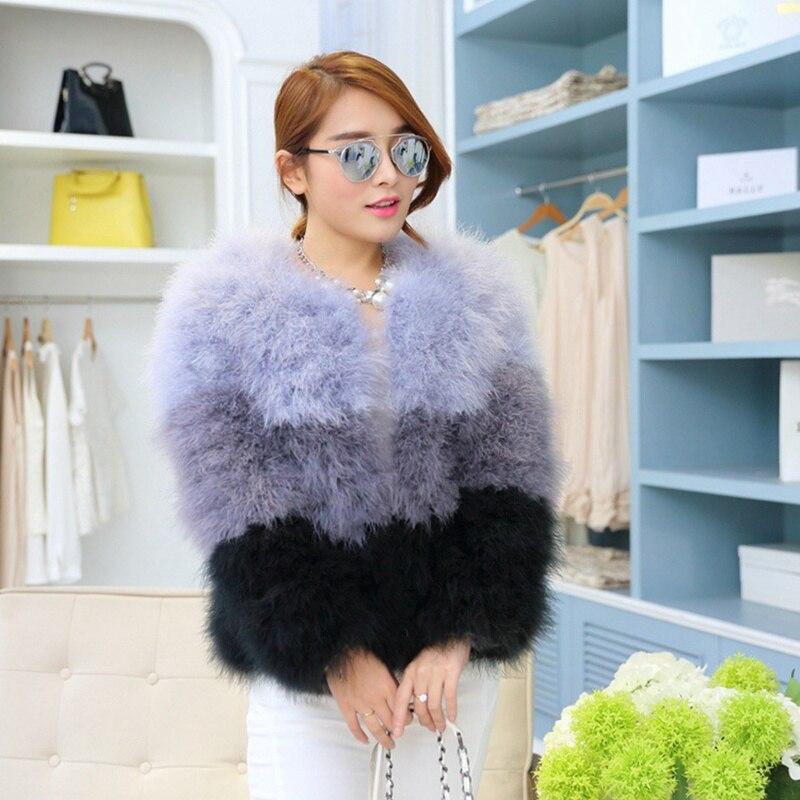 Printemps automne femmes véritables vestes de fourrure d'autruche col rond dame mince courte manteaux pour vêtements de dessus VF5009