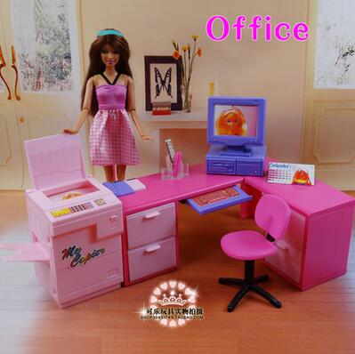For Barbie Desk  Furniture Accessories Toy Book Room Computer Desk Chair Dining Table Kitchen Bedroom Holiday Gift Gir