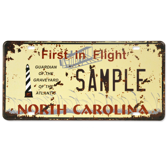 First In Flight Metal Tin Sign Sample Licence Plate Vintage Wall Art ...