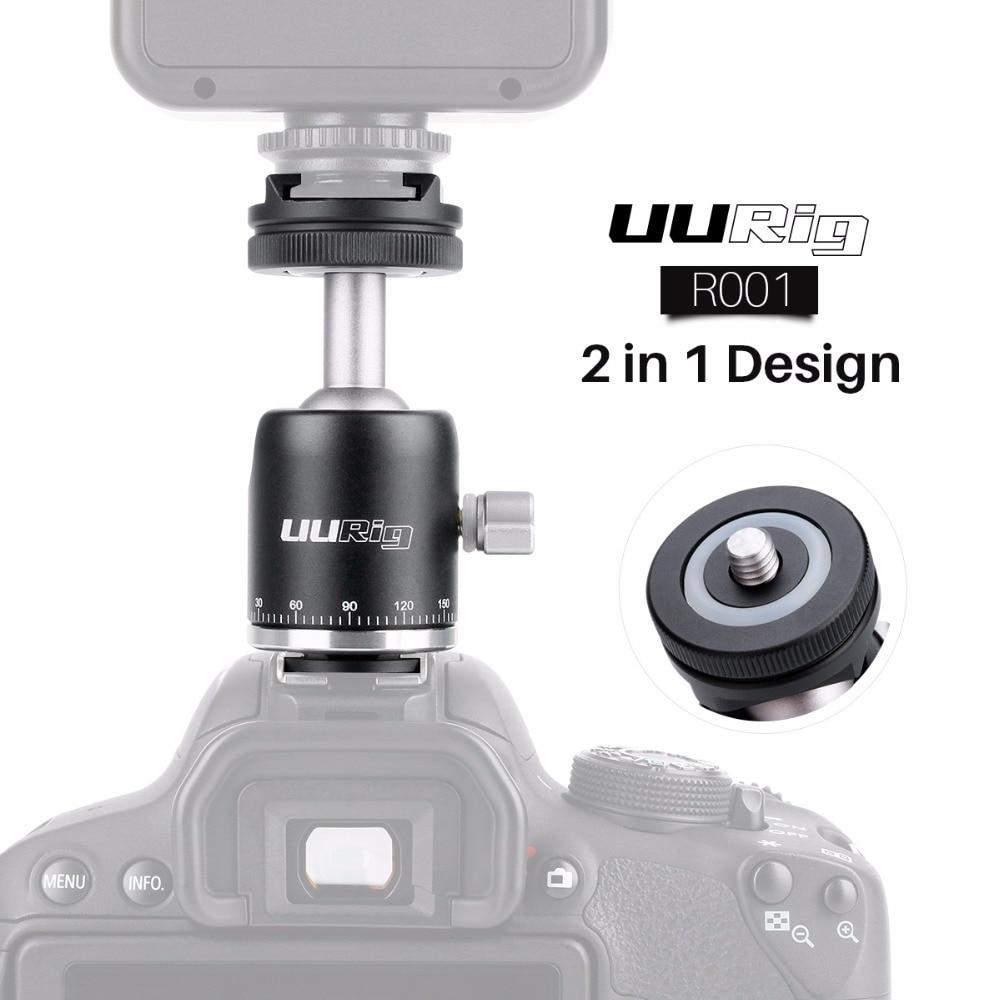 UUrig R001 360 Panoramic Ball Head Aluminium Tripod Head w 1/4'' Universal Cold Shoe Mount for Video Light Monitors Microphones