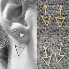New fashion Gold Silver Color triangle Triangle Stud Earrings For Women