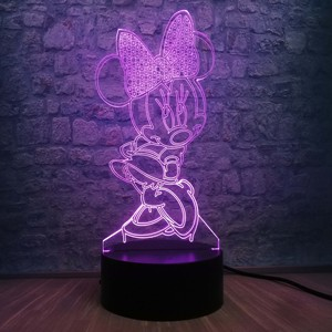 Image 5 - 3D ledランプ寝室ミニーミッキーステッチ表ナイトライト7色の変更ベースランプベビーベッド装飾キッズドロップ無料
