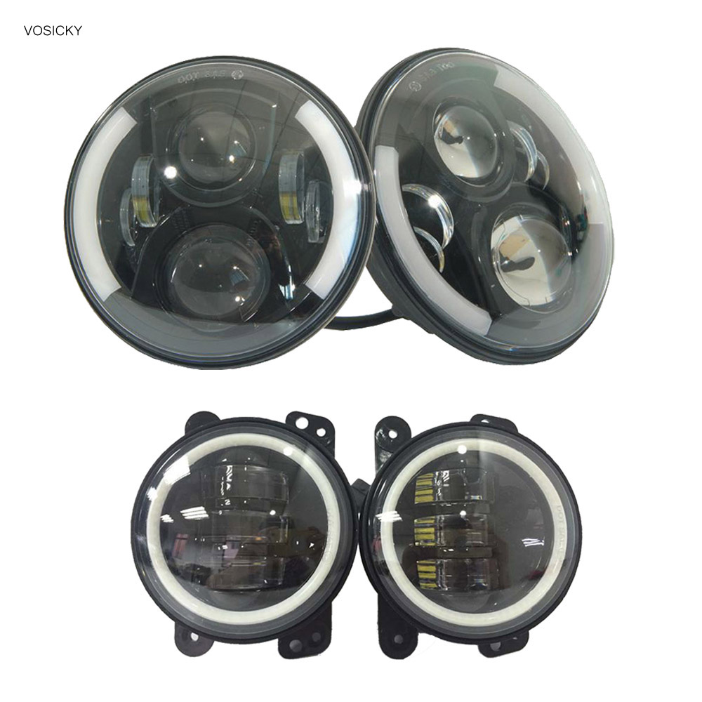 VOSICKY 7 Inch Round LED Halo Headlight Daymaker DRL with a pair 4 inch fog light angel eye For Jeep Wrangler JK Hummer Harley 40w headlamp 7 inch led halo ring daymaker headlight rear tail lights with 4 fog light for jeep wrangler jk l21