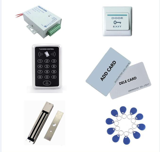 access control kit,standalone access controller+ power+280kg magnetic lock+exit button+2 manage card,10 keyfob ID tags,sn:set-6 access control systems proximity card waterproof standalone access control power supply magnetic lock exit button 10pcs rfid key