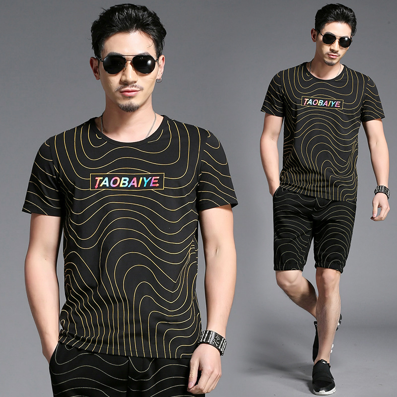 Creative color stripe printing fashion casual t shirt and shorts set Summer 2018 quality soft skin-friendly tracksuit men M-4XL