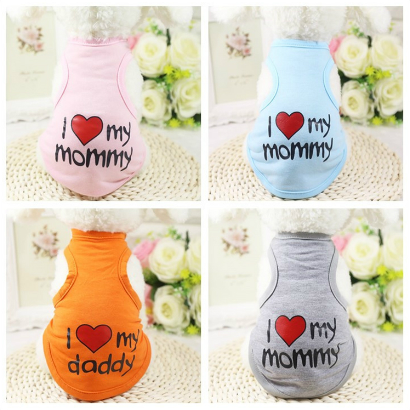 Spring Pet Dog Vests I LOVE MY MOMMY Puppy Dogs Cats Coat Clothes T-shirt Summer Cachorro Mascotas Chihuahua Teddy Dog Vest GY33