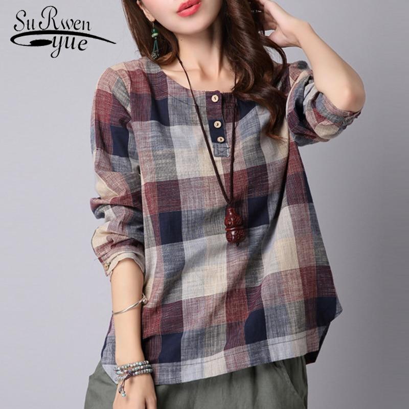 2019 fashion casual Cotton Linen blouse women shirt Loose Long sleeve plaid women blouse Shirt blusas feminine blouses 154D 20