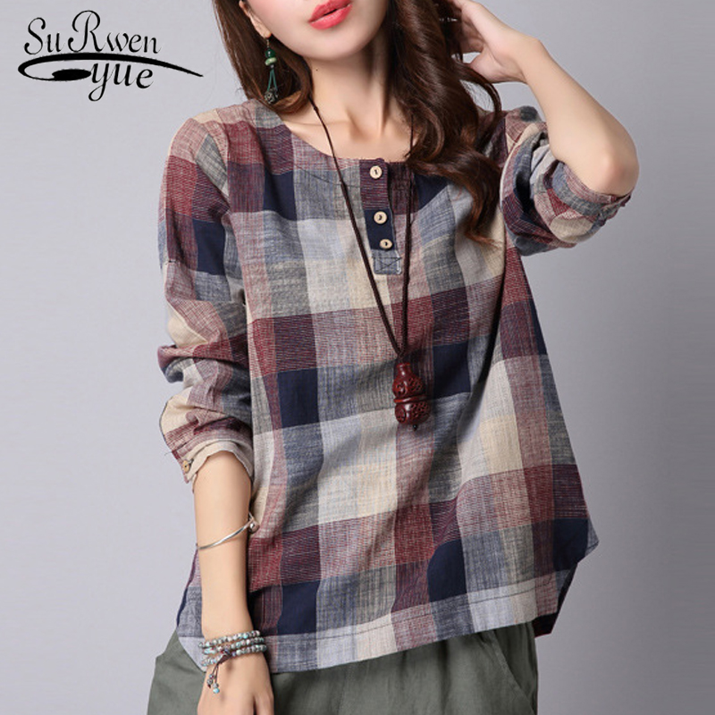 2019 fashion casual Cotton Linen   blouse   women   shirt   Loose Long sleeve plaid women   blouse     Shirt   blusas feminine   blouses   154D 20