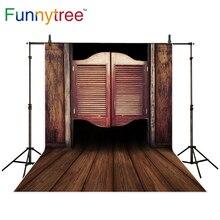 Funnytree backdrop para estúdio de fotografia de madeira do velho cowboy ocidental saloon balançando porta fundo photocall photobooth prop foto