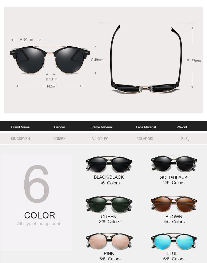 17 KINGSEVEN Retro Rivet Polarized Sunglasses Women Classic Brand Designer Sun glasses Eyewear Bridge Frame Oculos Gafas N7346 2