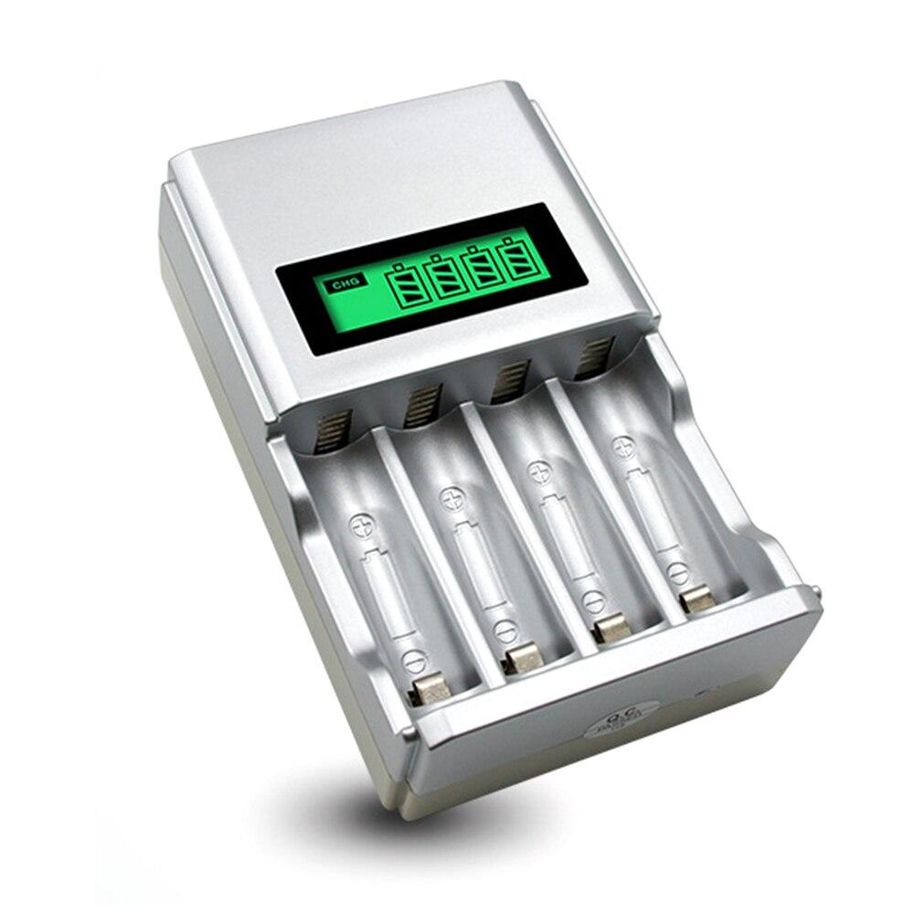 6b440ae25d Nueva UE/ee.uu. más 4 ranuras AAA AA cargador de batería recargable con  pantalla LCD para ni-mh ni-cd cargador de batería