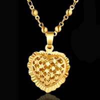 20 30mm Heart Pendant And Necklaces Romantic Jewelry Gold Color Beads Chain For Womens Wedding Gift