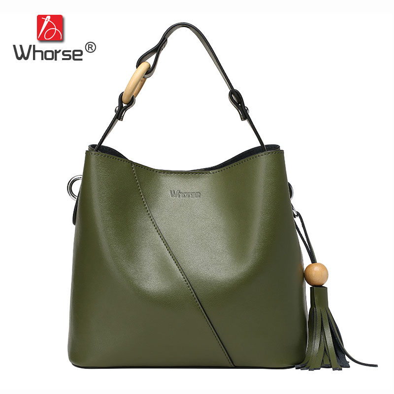 [WHORSE] Women Handbag Genuine Leather Tote Shoulder Messenger Bags Cowhide Tassel Bucket Ladies Casual Shopping Bag W08010 aibkhk new leather middle aged women messenger bags women handbag satchel shoulder bags casual joker cowhide bag purse tote