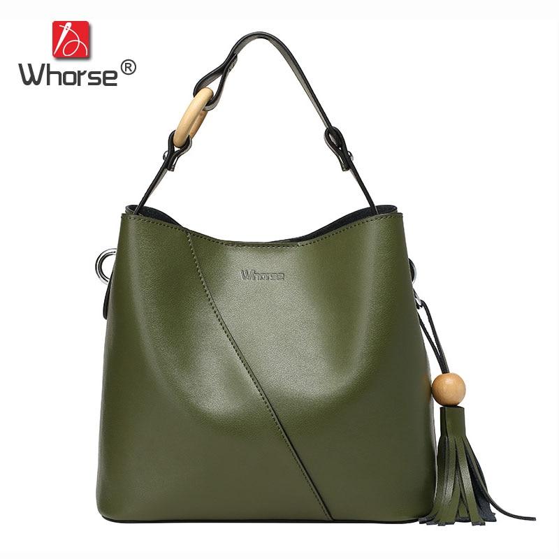 Fashion Tassel Bead Womens Shoulder Bag Genuine Leather Ladies Handbag Casual Tote Shopping Messenger Bags For Women W08010