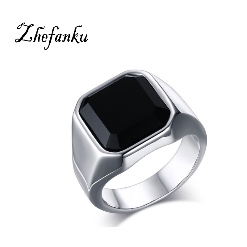Square Black Crystal Stone Thick Band Ring Men In Titanium Stainless Steel Silver Color  ...