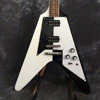 Custom White China Shop And Black Finish Flying Electric Guitars With Chrome Hardware Free Shipping