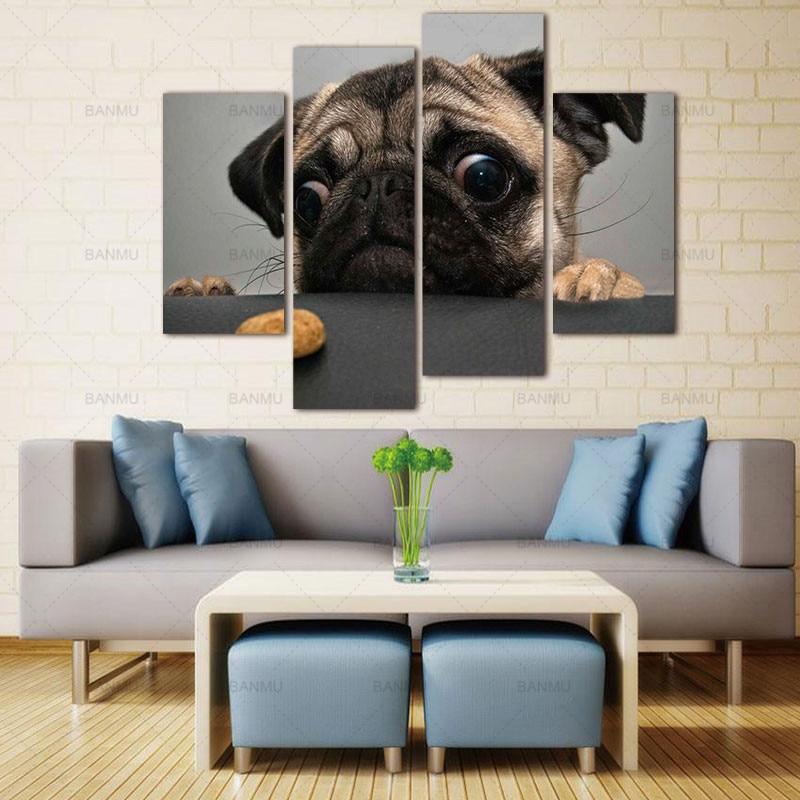 BANMU Wall Art canvas Painting 4 Piece Crazy Pug Prints On