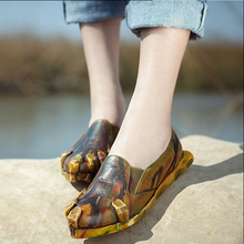 Vintage handmade genuine leather women's shoes personalized Camouflage pointed toe single shoes street fashion shoes flat