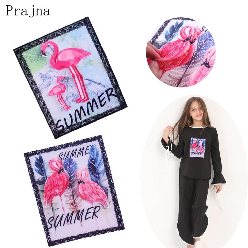 Prajna 3D большой Фламинго Патч горный хрусталь бисером патч вышивать на пачках для наклейки для одежды футболка аппликация моющиеся DIY