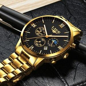 Image 5 - LIGE montre bracelet de Sport pour hommes, qualité militaire, cuir et acier, Top luxe, marque montre étanche décontractée