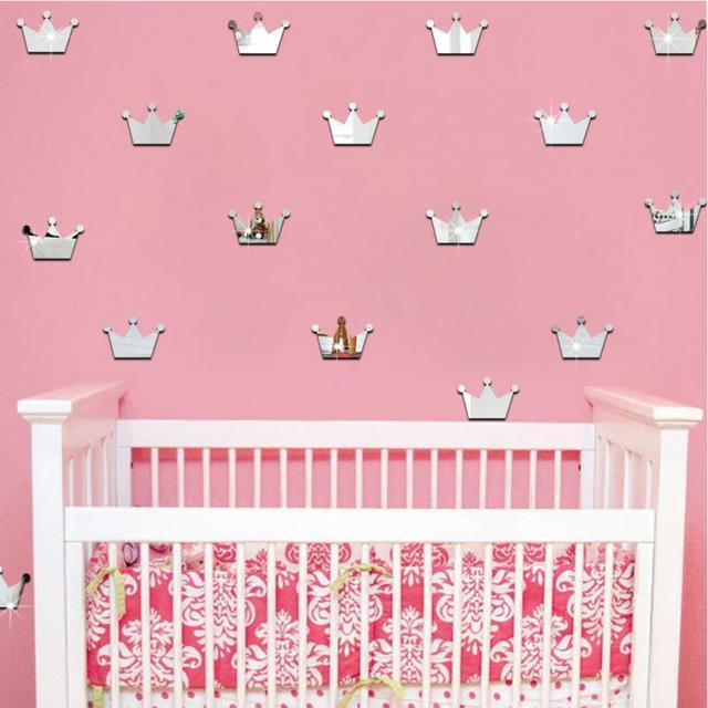 18 Pcs Set 3d Acrylic Cermin Dinding Stiker Anak Dekorasi Kamar Putri Mahkota Bentuk Sticker Dinding Seni Decals