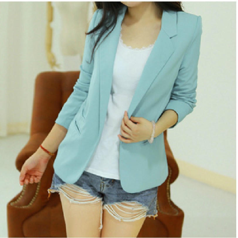 2016 HOT Sale Fashion Slim Blazer Women Candy Colored Women Blazer None Button Lapel Long Sleeve Suit Blazer Woman WL2023