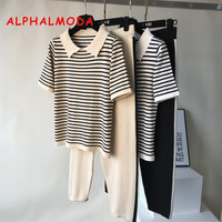 ALPHALMODA 2019 Summer Turn down Collar Striped Knitted Short sleeved Tee Tops + Striped Knit Pants 2pcs Casual Women Suits