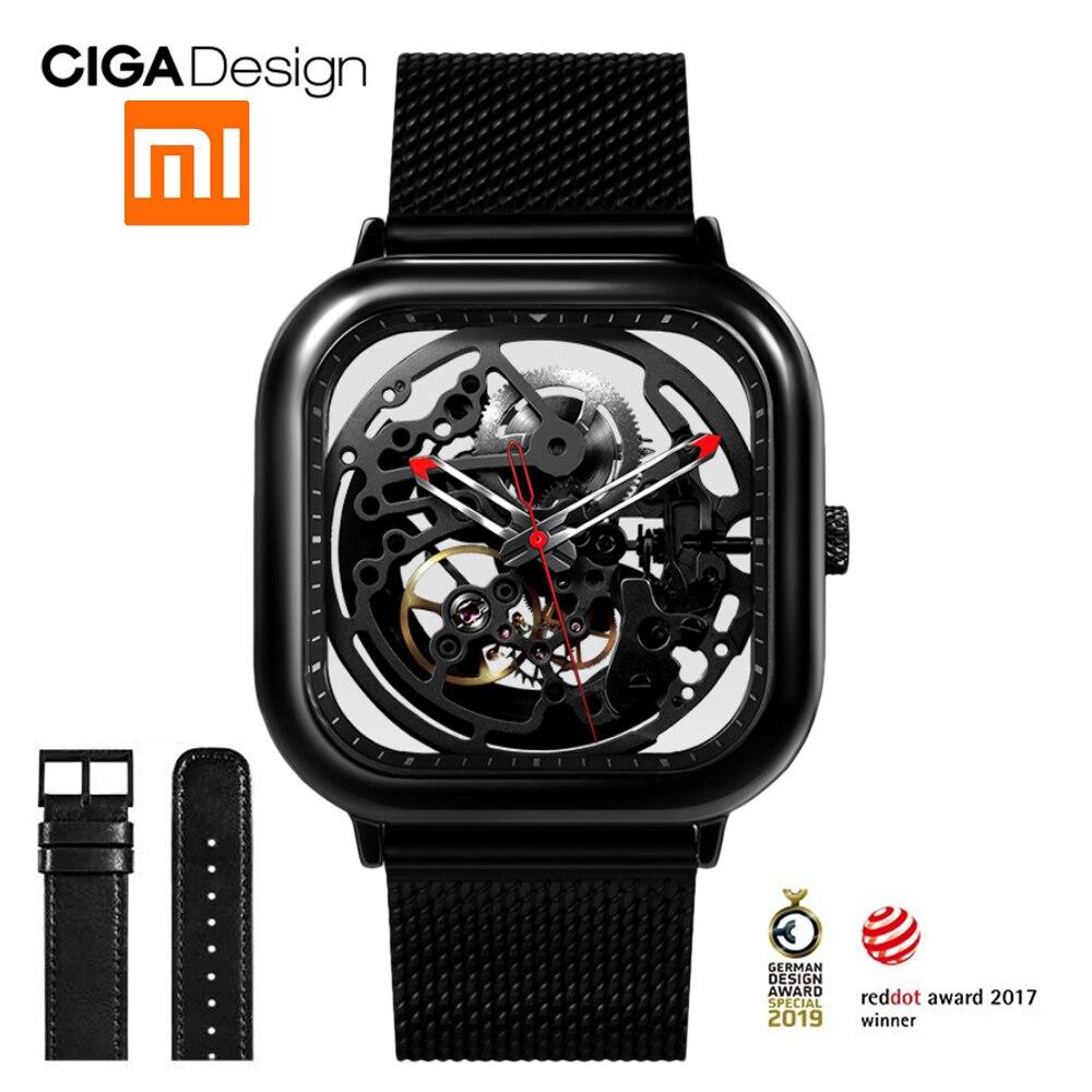 Para Xiaomi CIGA Projeto Escavado-out Homens de Negócios Relógio Mecânico Automático do Relógio de Pulso Reddot 2019 Nova Auto-vento relógios de pulso