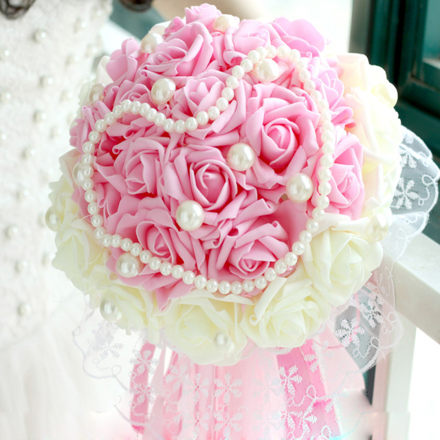 2017 Beautiful Wedding Bouquet Bridal Flower ALL Handmade Bouquets Artificial Pearls Flower Rose Bouquet