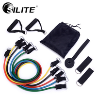 SILITE 11pcs Set Pull Rope Fitness Exercises Resistance Bands Crossfit Latex Tubes Pedal Excerciser Body Training