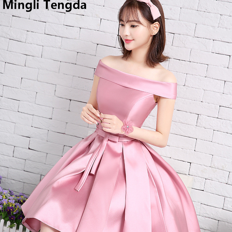 Mingli Tengda Pink   Bridesmaid     Dresses   Short Boat Neck   Bridesmaid     Dress   Plus Size New Wedding Party Prom   Dress   Cheap Wholesale