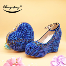 BaoYaFang 2019 new Arrive wedding shoes with matching bags High Wedges Heart purse royal blue pearl party shoes and bags