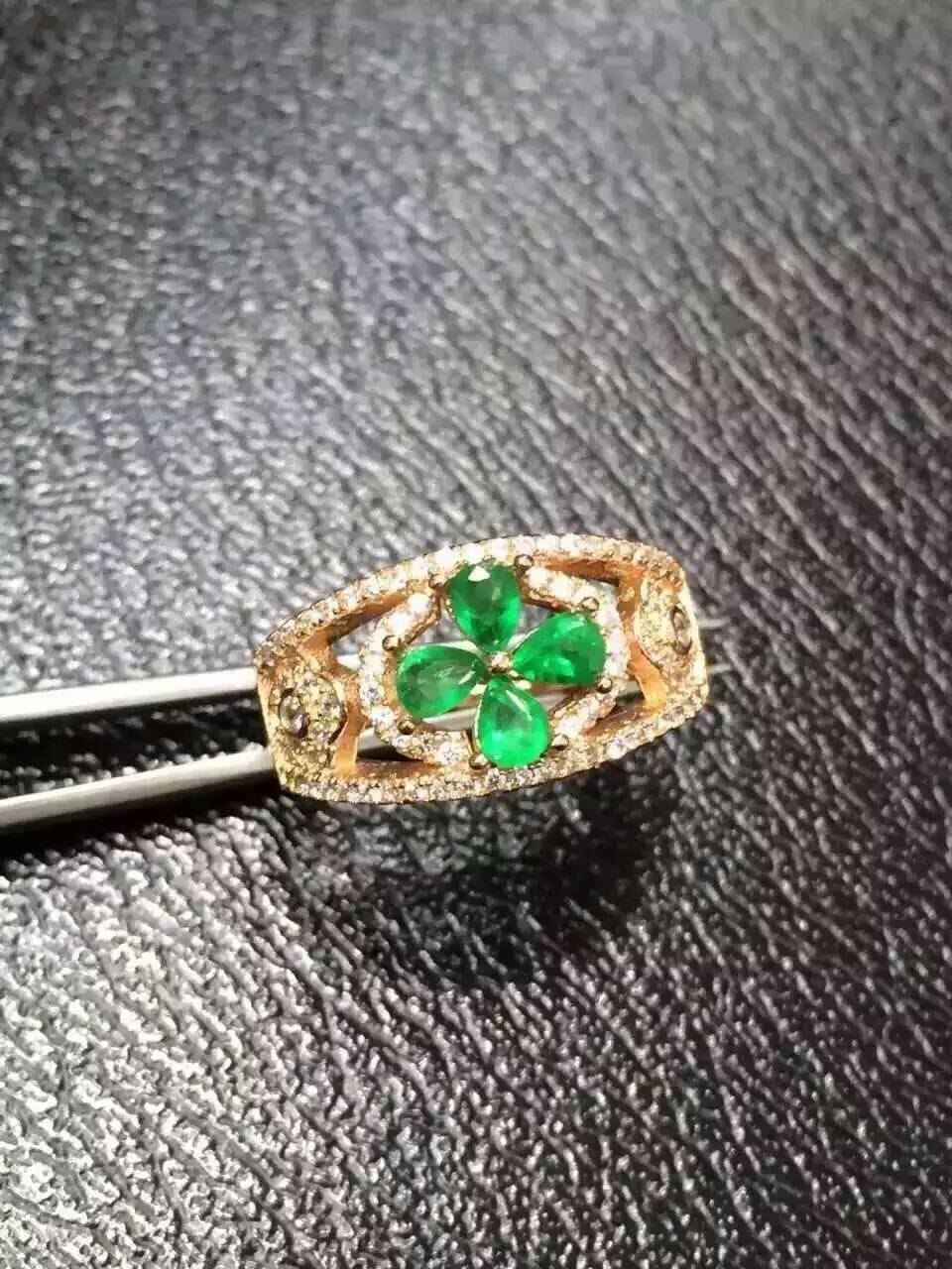 Natural green emerald Ring Natural gemstone ring 925 sterling silver trendy Elegant Hollow Clover women party gift Jewelry