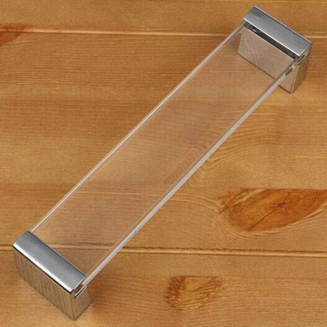 160mm de vidro moda moderna armário de cozinha móveis handle prata drawe punho acrílico transparente dresser armário porta pull knob