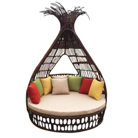 Outdoor Courtyard Recreational Double Rattan Beds Swimming Pool Chairs Rattan Beds