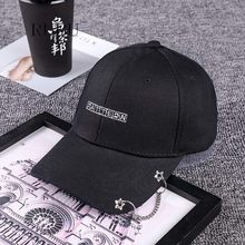 New hat men and ladies rings chain iron cap dome curved eaves personality hip hop hat cap models(China)