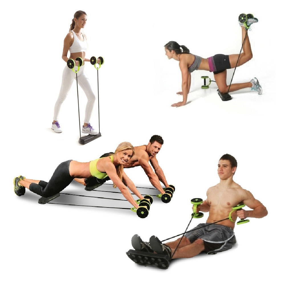 Gym Fitness Ab Rollers Four Wheels Exercise Equipment Core Pull Rope Abdominal Trainer Waist Slimming