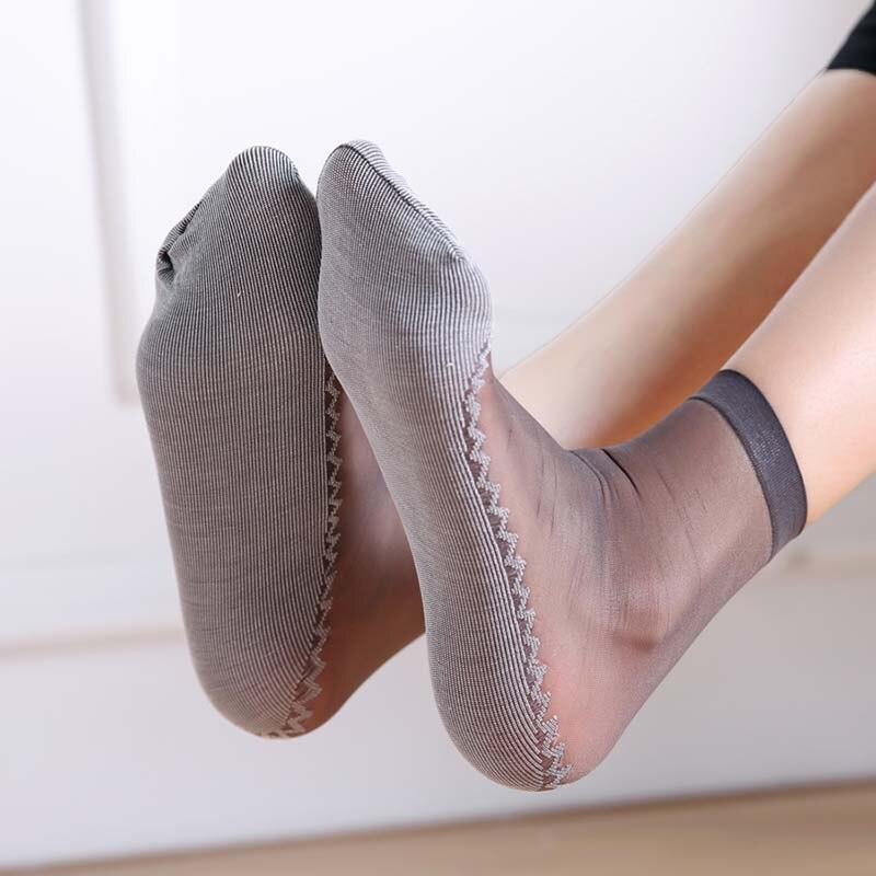 1 Pair Spring Summer Women Soft Socks Casual Non-Slip Bottom Splice Fashion Transparent Ladies Girls Thin Silk Sock H9