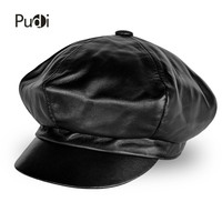 Pudi women genuine leather military hat cap 2018 new style real leather student school caps hats HL811