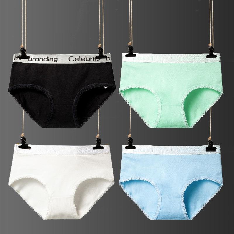 Buy Feilibin 4Pcs/Lot Panties Women Cotton Underwear Cute Letter Sexy Female Briefs Lingerie Seamless Women's Branding Underpants