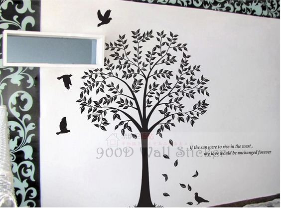 Tree wall stickers home decoration diy tree and birds for Diy tree wall mural